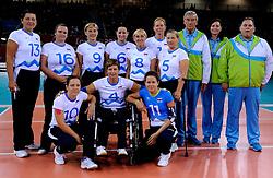 01-09-2012 ZITVOLLEYBAL: PARALYMPISCHE SPELEN 2012 USA - SLOVENIE: LONDEN.In ExCel South Arena wint USA van Slovenie / Team Slovenia.©2012-FotoHoogendoorn.nl.