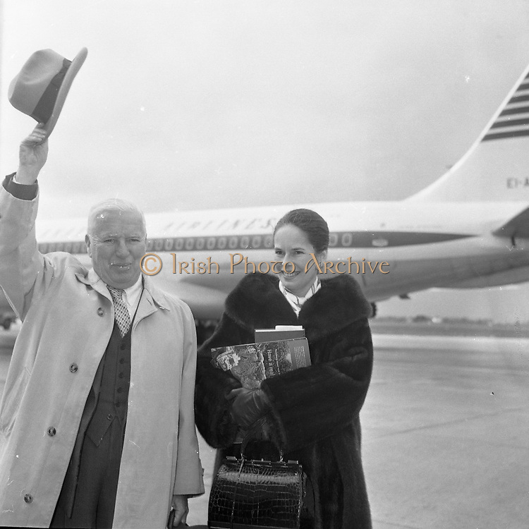 Charlie Chaplin and his wife Oona arriving at Dublin Aiport for a holiday in Ireland..11.04.1962