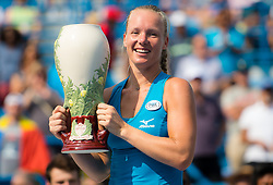 August 19, 2018 - Kiki Bertens of the Netherlands poses with her winners trophy after the final of the 2018 Western & Southern Open WTA Premier 5 tennis tournament. Cincinnati, Ohio, USA. August 19th 2018. (Credit Image: © AFP7 via ZUMA Wire)