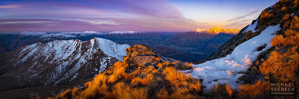 A panoramic photograph captured from high on the slopes of Ben Lomond, on the South Island of New Zealand.<br /> <br /> Code: HZOQ0015<br /> <br /> Limited Edition Print