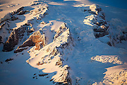 Detail of the upper Nisqually Glacier from Paradise in Mount Rainier National Park, Washington.