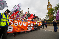 © Licensed to London News Pictures. 25/05/2016. London, UK. Hundreds of steelworkers from across the UK march through Westminster in London to keep up pressure for government help steel industry on Wednesday, 25 May 2016. Photo credit: Tolga Akmen/LNP
