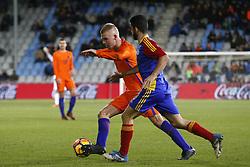 (L-R), Rick van Drongelen of Jong Oranje, Jordi Alaez of Jong Andorra during the EURO U21 2017 qualifying match between Netherlands U21 and Andorra U21 at the Vijverberg stadium on November 10, 2017 in Doetinchem, The Netherlands