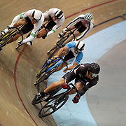 Simon Van Vel Thooven, New Zealand, (front) in action during the Men Keirin at the 2012 Oceania WHK Track Cycling Championships, Invercargill, New Zealand. 21st November  2011. Photo Tim Clayton