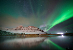 Aurora Borealis, the Northern Lights, over the west coast of Iceland.
