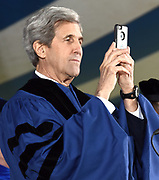 Photo by Mara Lavitt<br /> New Haven, CT<br /> May 22, 2017<br /> Scenes from the Yale University Commencement. John Kerry, honorary doctorate recipient.