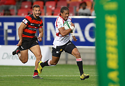 Sylvian Mahuza of Golden Lions heads to the tryline during the Currie Cup Premier Division match between the Eastern Province Kings and The Lions held at the Nelson Mandela Bay Stadium in Port Elizabeth, South Africa on the 24th September 2016<br /><br />Photo by: Richard Huggard / Real Time Images