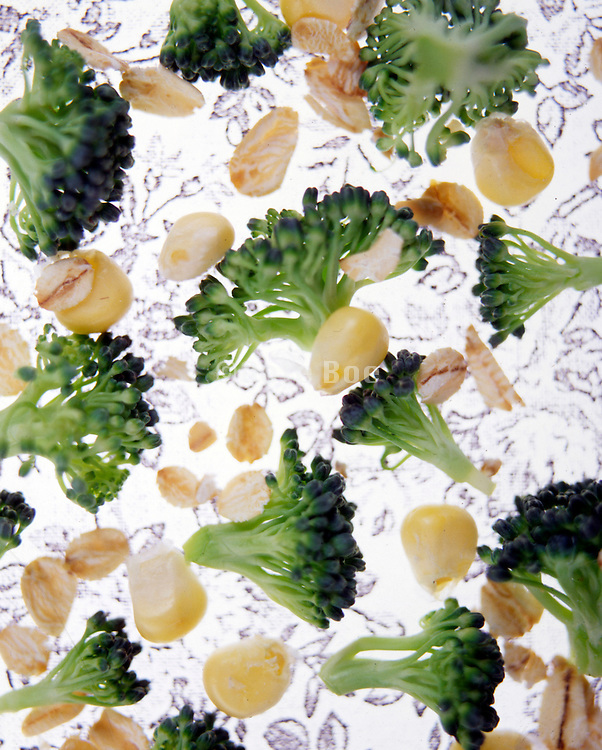 broccoli corn oat abstraction on stenciled floral background