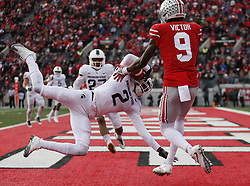 November 11, 2017 - Columbus, OH, USA - Michigan State Spartans cornerback Justin Layne (2) intercepts a pass intended for Ohio State Buckeyes wide receiver Binjimen Victor (9) in the end zone during the fourth quarter on Saturday, Nov. 11, 2017 at Ohio Stadium in Columbus, Ohio. (Credit Image: © Adam Cairns/TNS via ZUMA Wire)