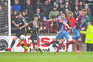 Josh Morris of Scunthorpe United (11) shoots over during the EFL Sky Bet League 1 match between Scunthorpe United and Bradford City at Glanford Park, Scunthorpe, England on 27 April 2019.