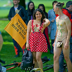 World Naked Bike ride. A protest against car culture, oil dependency, and a way to demonstrate cyclist vulnerably on the roads. Middle Meadow Walk, Edinburgh16th June 2016, (c) Brian Anderson | Edinburgh Elite media