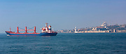 Bulk carrier freight ship in the River Bosphorus  and Sea of Marmara in Istanbul, Republic of Turkey