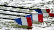 Poznan, POLAND.   2004 FISA World Cup, Malta Lake Course.  <br /> <br /> Fri. morning from the start pontoon<br /> FRA M4X  - French [Tricolor] Blades', as the crew back down onto the pontoon<br /> <br /> 09.05.2004<br /> <br /> [Mandatory Credit:Peter SPURRIER/Intersport Images]