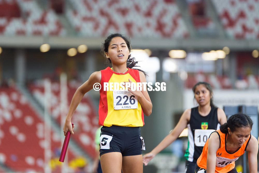 National Stadium, Friday, April 28, 2017 — 0.9 seconds: that was all that separated the top three in the A Division girls' 4 by 400 metres relay final at the 58th National Schools Track and Field Championships.<br /> <br /> A thriller from start to finish, the race saw multiple lead changes between Raffles Institution (RI) and Hwa Chong Institution (HCI) – with Singapore Sports School (SSP) eventually grabbing victory in the last 40 metres. Story: https://www.redsports.sg/2017/05/01/a-div-4x400m-relay-girls-sports-school/