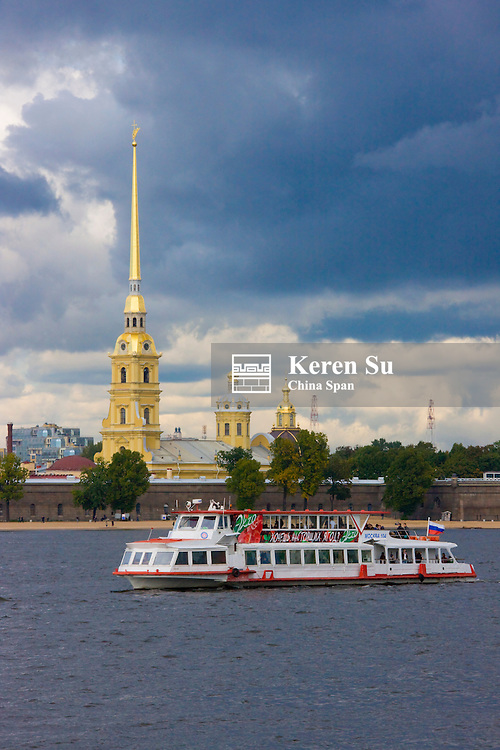 Saint Peter and Paul Cathedral inside the Peter and Paul Fortress on the Neva River, St Petersburg, Russia