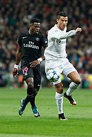 Real Madrid´s Cristiano Ronaldo (R) and Paris Saint-Germain´s Serge Aurier during Champions League soccer match between Real Madrid  and Paris Saint Germain at Santiago Bernabeu stadium in Madrid, Spain. November 03, 2015. (ALTERPHOTOS/Victor Blanco)