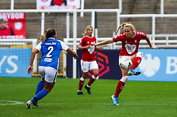 Jemma Purfield of Bristol City Women controls the ball- Mandatory by-line: Will Cooper/JMP - 18/10/2020 - FOOTBALL - Twerton Park - Bath, England - Bristol City Women v Birmingham City Women - Barclays FA Women's Super League