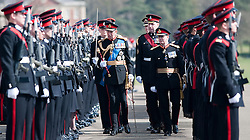 © London News Pictures. 13/04/2012. Crowthorne, UK.  HRH Field Marshal the Duke of Kent inspecting Officer cadets before a parade at The Royal Military Academy Sandhurst in Berkshire on April 13, 2012. Officer cadets were given their commissions to mark the end of their year's training. The parade is the first in a series of events marking 2012 as the 200th anniversary of the Royal Military Academy Sandhurst. Photo credit :  Ben Cawthra/LNP