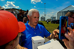 June 3, 2017 - Boone, Iowa, U.S - Vice President Mike Pence, shakes hands and signs autographs as he works the rope line crowd at Senator Joni Ernst's 3rd annual roast and ride charity motorcycle ride to benefit military veterans at the Central Iowa Expo center in Boone Iowa, 3 June, 2017. (Credit Image: © Mark Reinstein via ZUMA Wire)