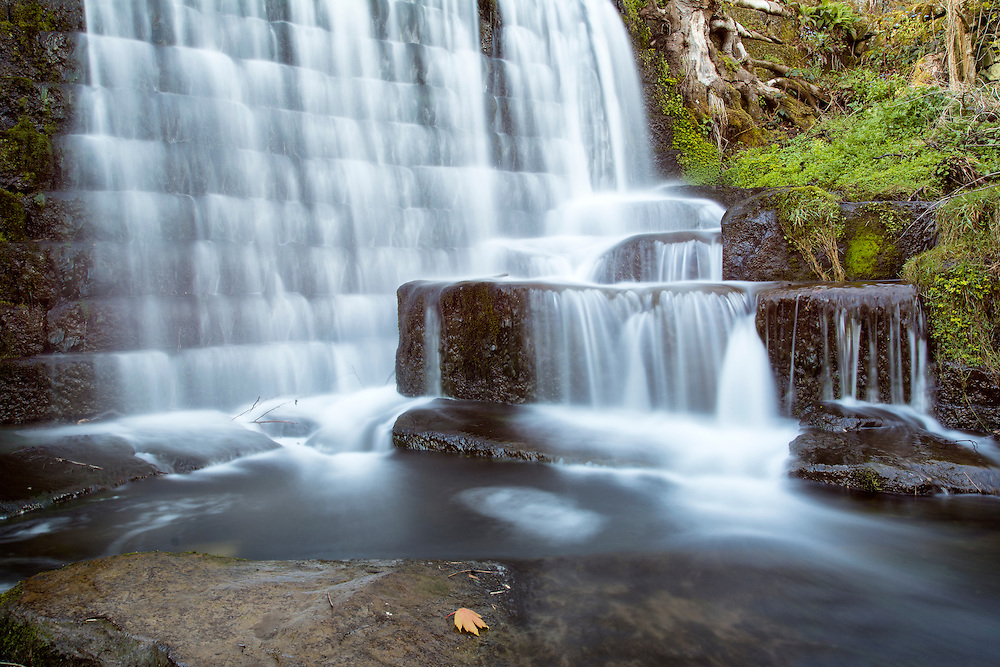 Lumsdale Falls in the Peak District, UK.