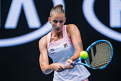 January 17, 2019 - Melbourne, VIC, U.S. - MELBOURNE, VIC - JANUARY 17: KAROLINA PLISKOVA (CZE) during day four match of the 2019 Australian Open on January 17, 2019 at Melbourne Park Tennis Centre Melbourne, Australia (Photo by Chaz Niell/Icon Sportswire) (Credit Image: © Chaz Niell/Icon SMI via ZUMA Press)