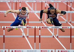 Andy Pozzi of Great Britain and Pascal Martinot-Lagarde of France compete during the 60m Hurdles Men Final on day one of the 2017 European Athletics Indoor Championships at the Kombank Arena on March 3, 2017 in Belgrade, Serbia. Photo by Vid Ponikvar / Sportida