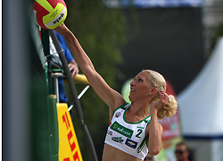 Vesna Puketa (SPORT Caffee SKK Team) at qualifications for 14th National Championship of Slovenia in Beach Volleyball and also 4th tournament of series TUSMOBIL LG presented by Nestea, on July 25, 2008, in Kranj, Slovenija. (Photo by Vid Ponikvar / Sportal Images)/ Sportida)