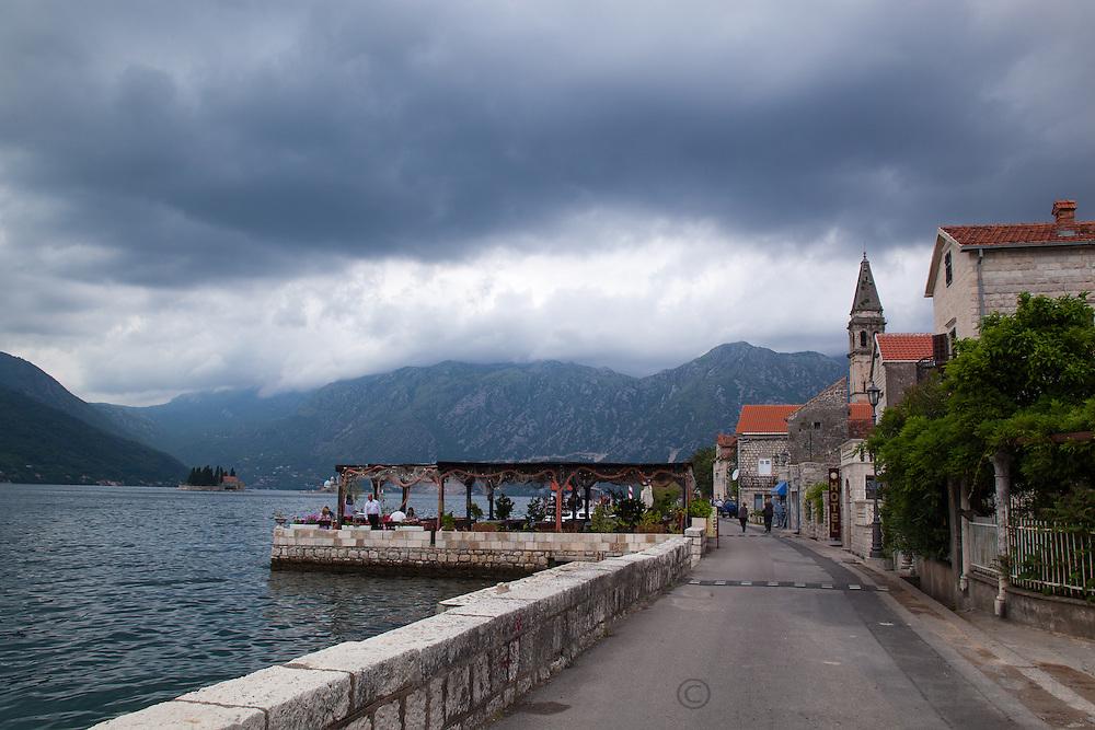 Restaurant on the sea in Perast, Montenegro.