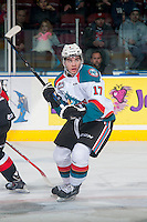 KELOWNA, CANADA - JANUARY 3: Rodney Southam #17 of Kelowna Rockets skates against the Prince George Cougars on January 3, 2015 at Prospera Place in Kelowna, British Columbia, Canada.  (Photo by Marissa Baecker/Shoot the Breeze)  *** Local Caption *** Rodney Southam;