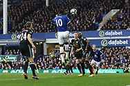 Romelu Lukaku of Everton heads and scores his teams 3rd goal. Premier league match, Everton v West Bromwich Albion at Goodison Park in Liverpool, Merseyside on Saturday 11th March 2017.<br /> pic by Chris Stading, Andrew Orchard sports photography.