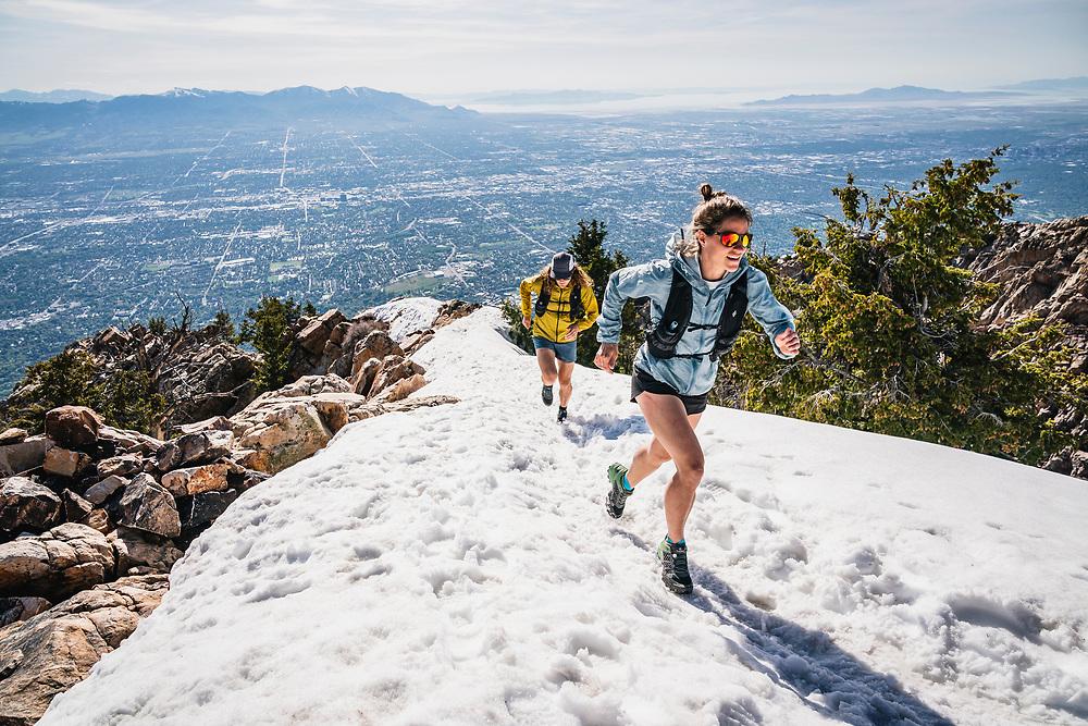 Hillary Gerardi and Joe Grant hit the summit of Mount Olympus, Wasatch Range, Utah.