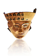 An Etruscan Dinos ( style of vase) with a face, from the Group of Dinoi Campana Ribbon Painter,  540-520 B.C. inv 3784, National Archaeological Museum Florence, Italy, white background .<br /> <br /> If you prefer to buy from our ALAMY PHOTO LIBRARY  Collection visit : https://www.alamy.com/portfolio/paul-williams-funkystock - Scroll down and type - Etruscan Florence - into LOWER search box. (TIP - Refine search by adding a background colour as well).<br /> <br /> Visit our ETRUSCAN PHOTO COLLECTIONS for more photos to download or buy as wall art prints https://funkystock.photoshelter.com/gallery-collection/Pictures-Images-of-Etruscan-Historic-Sites-Art-Artefacts-Antiquities/C0000GgxRXWVMLyc