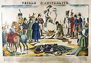 Napoleon on the evening before Austerlitz. The Battle of Austerlitz  (Bitva u Slavkova) also known as the Battle of the Three Emperors, l December 1805.  Decisive French victory over the Russian and Austrian empires, one of Napoleon's greatest victories. Popular French hand-coloured woodcut.