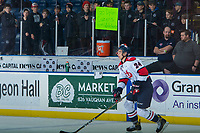 KELOWNA, CANADA - NOVEMBER 17: A minor hockey team from Whitehorse cheers on hometown boy Dylan Cozens #24 of the Lethbridge Hurricanes during warm up against the Kelowna Rockets on November 17, 2017 at Prospera Place in Kelowna, British Columbia, Canada.  (Photo by Marissa Baecker/Shoot the Breeze)  *** Local Caption ***