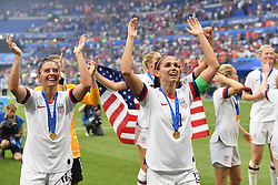 July 7, 2019 - Lyon, France - Alex Morgan (Orlando Pride) and her teammates celebrate after winning the the 2019 FIFA Women's World Cup France Final match between The United State of America and The Netherlands at Stade de Lyon on July 7, 2019 in Lyon, France. (Credit Image: © Jose Breton/NurPhoto via ZUMA Press)