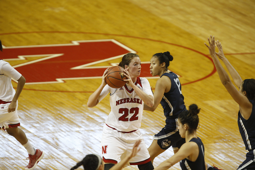 Nebraska Cornhuskers center Allie Havers #22 during Nebraska's 84-41 loss to No. 1-ranked UConn at Pinnacle Bank Arena in Lincoln, Neb. on Dec. 21, 2016. Photo by Aaron Babcock, Hail Varsity