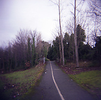 Path with cycle track through Kilbogget park in Dublin Ireland