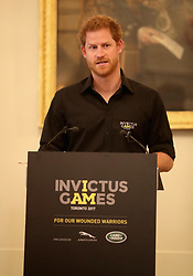 Prince Harry speaks during the launch of the UK's Invictus Games team at Plaisterers Hall.