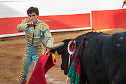 Bullfighter Francisco Martinez performs with a bull at the Plaza de Toros March 3, 2018 in San Miguel de Allende, Guanajuato, Mexico.
