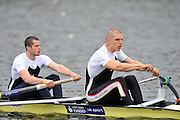 Hazewinkel, BELGIUM,  Men's Pair, bow [left] James FOAD and Moe SBIHI, at the start of their race in the Sunday Afternoon Semi Finals at the British Rowing Senior Trails, Bloso Rowing Centre. Sunday,  11/04/2010. [Mandatory Credit. Peter Spurrier/Intersport Images]