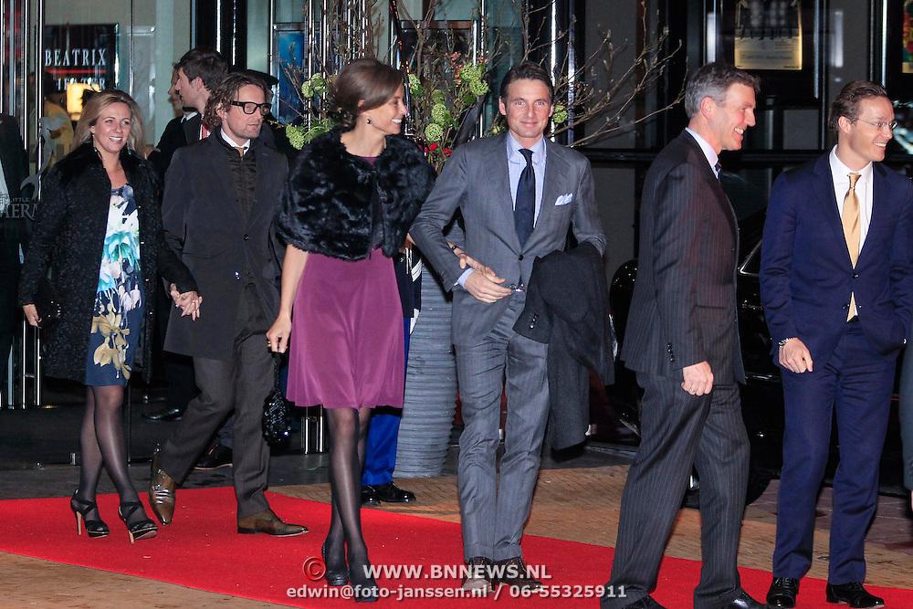 NLD/Utrecht/20130201 - Vertrek 75ste verjaardagfeest  Koninging Beatrix, prins Maurits en prinses Marilene van den Broek. prins Bernhard met partner Anette Sekreve en jaime