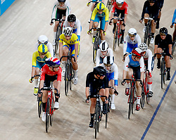 Barbados' Amber Joseph (centre, yellow jersey) in the Women's 25km Points Race Finals at the Anna Meares Velodrome during day Three of the 2018 Commonwealth Games in the Gold Coast, Australia.