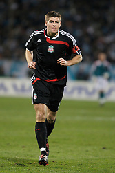 MARSEILLE, FRANCE - Tuesday, December 11, 2007: Liverpool's captain Steven Gerrard MBE in action against Olympique de Marseille during the final UEFA Champions League Group A match at the Stade Velodrome. (Photo by David Rawcliffe/Propaganda)