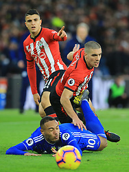Cardiff City's Kenneth Zohore (left) is fouled by Southampton's Oriol Romeu during the Premier League match at St Mary's Stadium, Southampton.
