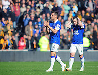 Everton's Phil Jagielka, left, with team-mate Leighton Baines acknowledge the fans at the final whistle<br /> <br /> Photographer Chris Vaughan/CameraSport<br /> <br /> Football - Barclays Premiership - Hull City v Everton - Sunday 11th May 2014 - Kingston Communications Stadium - Hull<br /> <br /> © CameraSport - 43 Linden Ave. Countesthorpe. Leicester. England. LE8 5PG - Tel: +44 (0) 116 277 4147 - admin@camerasport.com - www.camerasport.com