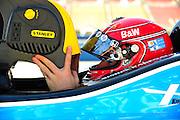 14-15 September, 2012, Fontana, California, USA.Simon Pagenaud (77) cools off during a scorching Indycar morning practice. .(c)2012, Jamey Price.LAT Photo USA