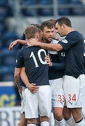 Falkirk's Will Vaulks cele with team mates, scoring their goal.<br /> Falkirk 4 v 1 Livingston, Scottish Championship game played today at the Falkirk Stadium.
