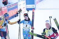 14.02.2021, Center Pokljuka, Pokljuka, SLO, IBU Weltmeisterschaften Biathlon, Sprint, Damen, im Bild hinz (vanessa) (ger), chevalier boichet (anais) (fra) // during womens Sprint competition of IBU Biathlon World Championships at the Center Pokljuka in Pokljuka, Slovenia on 2021/02/14. EXPA Pictures © 2021, PhotoCredit: EXPA/ Pressesports/ Frederic Mons<br /> <br /> *****ATTENTION - for AUT, SLO, CRO, SRB, BIH, MAZ, POL only*****