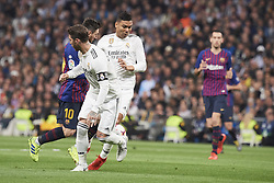 March 2, 2019 - Madrid, Madrid, Spain - Sergio Ramos (defender; Real Madrid), Lionel Messi (forward; Barcelona), Casemiro (midfielder; Real Madrid) in action during La Liga match between Real Madrid and FC Barcelona at Santiago Bernabeu Stadium on March 3, 2019 in Madrid, Spain (Credit Image: © Jack Abuin/ZUMA Wire)