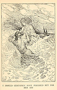 I Should Certainly Have Perished But For Her Aid from the book '  The Arabian nights' entertainments ' Test and Illustrations by Louis Rhead, Published  in New York by Harper & Brothers in 1916. In order to save her life, Sheherazade entertains the sultan by telling him wondrous stories